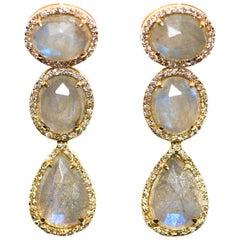 Kantis 14 Karat Diamond and Labradorite Dangle Earrings