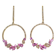 Kantis 18 Karat Diamond and Pink Sapphires Dangling Drop Circles Earrings