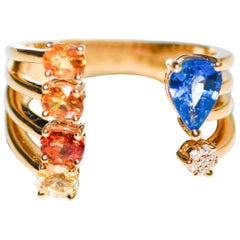 Kantis 18 Karat Diamond and Sapphires Ring