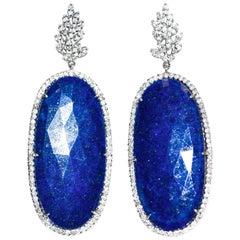 Kantis 18 Karat Oval Lapis Lazuli and Diamonds Dangle Drop Earrings