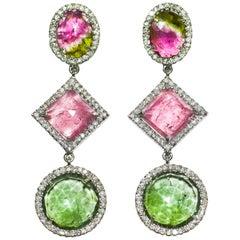 Kantis 18 Karat Pink, Green and Watermelon Tourmaline and Diamond Drop Earrings