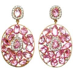 Kantis 18 Karat Pink Sapphire and Diamond Drop Dangle Earrings