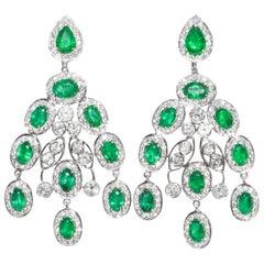 Kantis 18 Karat White Diamond and Oval Emeralds Pierced Dangle Drop Earrings