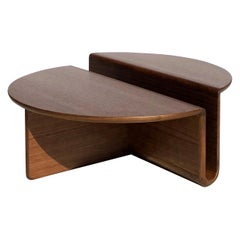 Kanyon Coffee Table, Contemporary Sculptural Minimalist Round Wooden Walnut