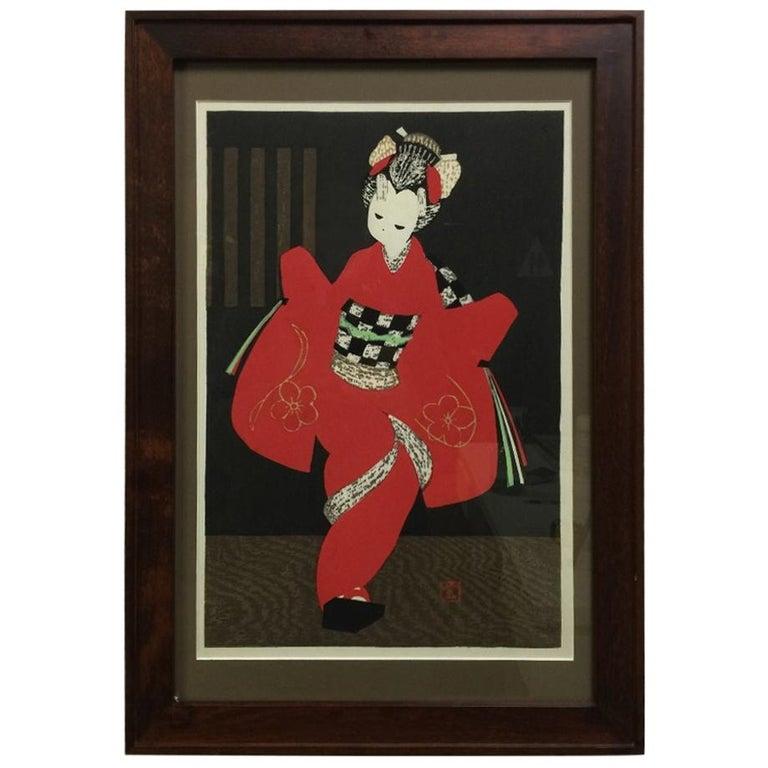 "Kaoru Kawano Japanese Woodblock Print ""Kamuro"" For Sale"