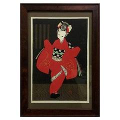 "Kaoru Kawano Japanese Woodblock Print ""Kamuro"""