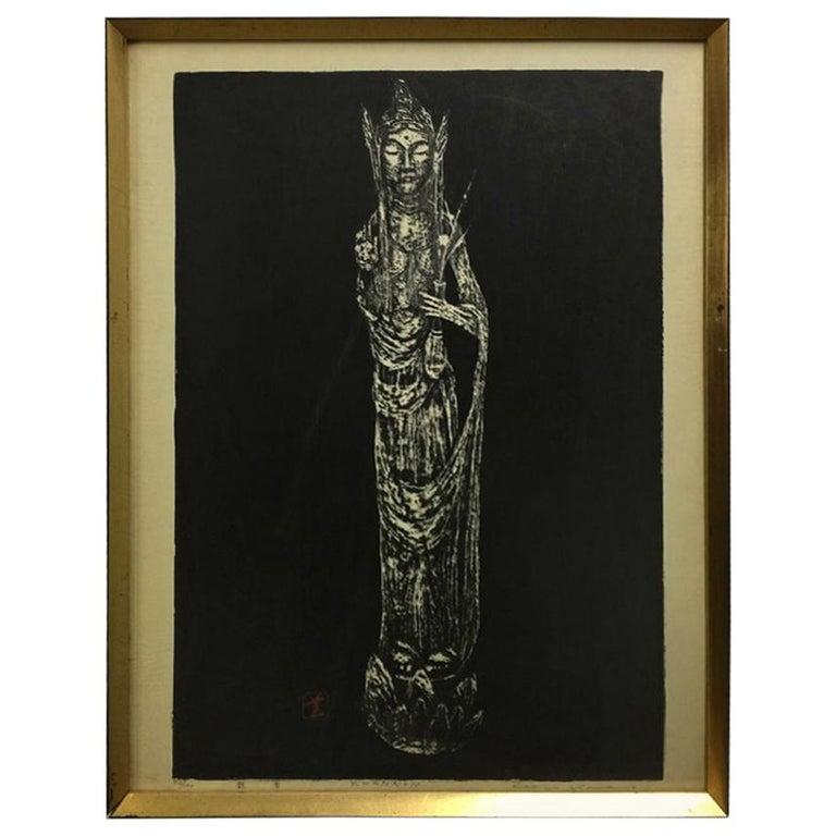 "Kaoru Kawano Limited Edition Signed Japanese Woodblock Print ""Kwannon"" For Sale"