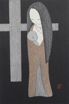 """""""Little Madonna"""" Japanese Woodcut, Mid-Century"""