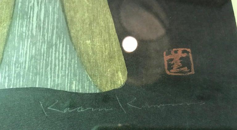 Mid-20th Century Kaoru Kawano Signed Japanese Woodblock Print Maria Kwannon Virgin Mary & Jesus