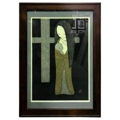 Kaoru Kawano Signed Japanese Woodblock Print Maria Kwannon Virgin Mary & Jesus