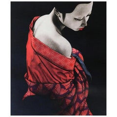 "Kaoru Saito Signed Limited Edition Japanese Mezzotint Print, 1984, ""Innocense"""