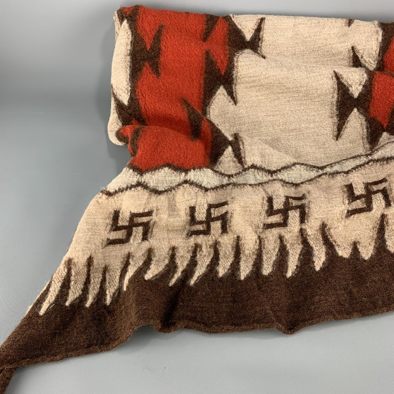 KAPITAL Beige Brown & Orange Buddhist Peace Sign Wool Scarf In New Condition For Sale In San Francisco, CA
