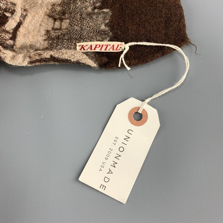 KAPITAL Beige Brown & Orange Buddhist Peace Sign Wool Scarf For Sale 1
