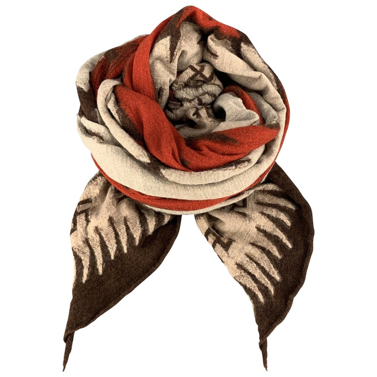KAPITAL Beige Brown & Orange Buddhist Peace Sign Wool Scarf For Sale