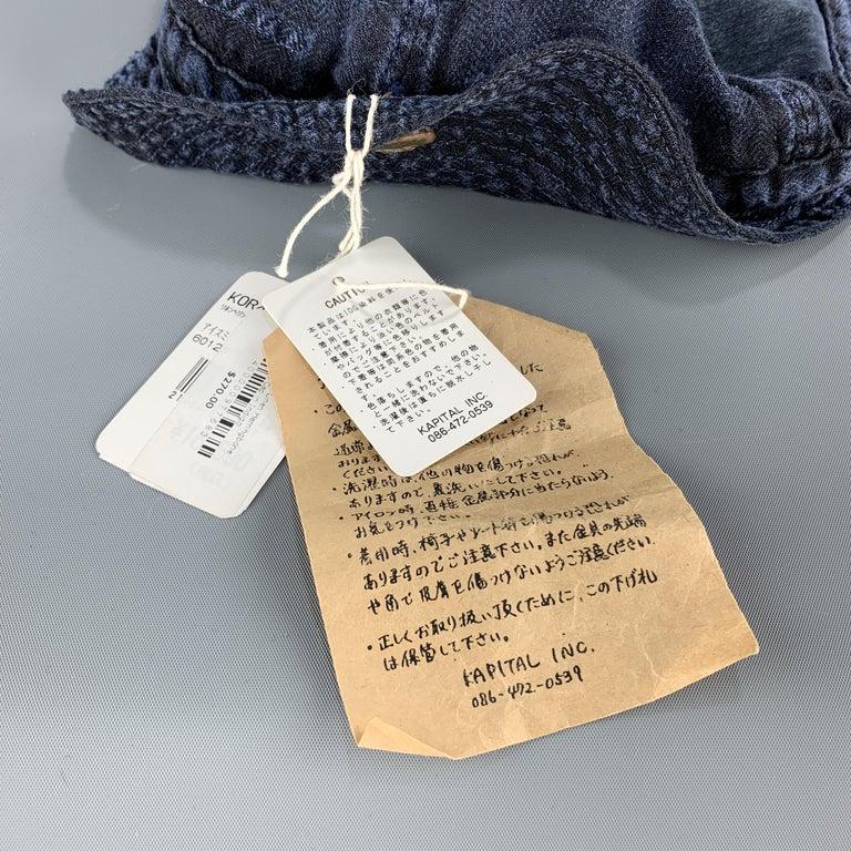 KAPITAL Patchwork Indigo Blue Patchwork Linen Hat For Sale 6