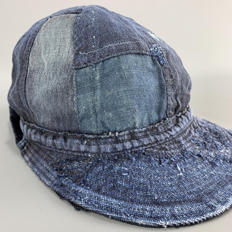 KAPITAL Patchwork Indigo Blue Patchwork Linen Hat In New Condition For Sale In San Francisco, CA