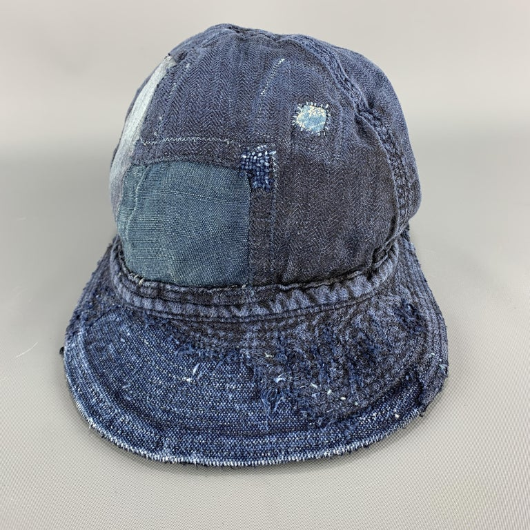 Men's KAPITAL Patchwork Indigo Blue Patchwork Linen Hat For Sale