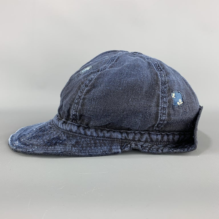KAPITAL Patchwork Indigo Blue Patchwork Linen Hat For Sale 1
