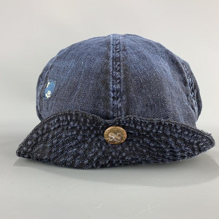 KAPITAL Patchwork Indigo Blue Patchwork Linen Hat For Sale 2