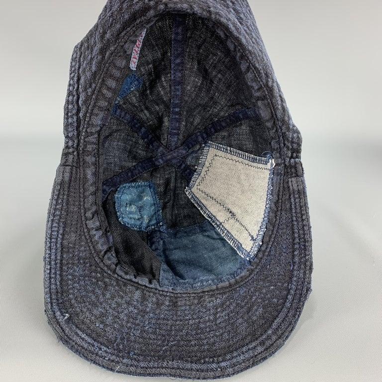 KAPITAL Patchwork Indigo Blue Patchwork Linen Hat For Sale 4