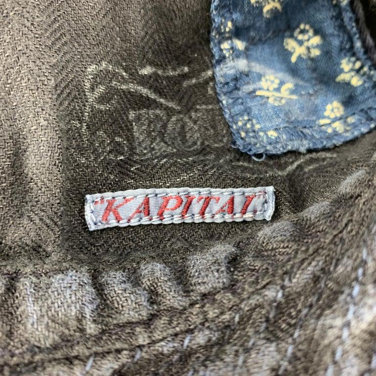 KAPITAL Patchwork Indigo Blue Patchwork Linen Hat For Sale 5