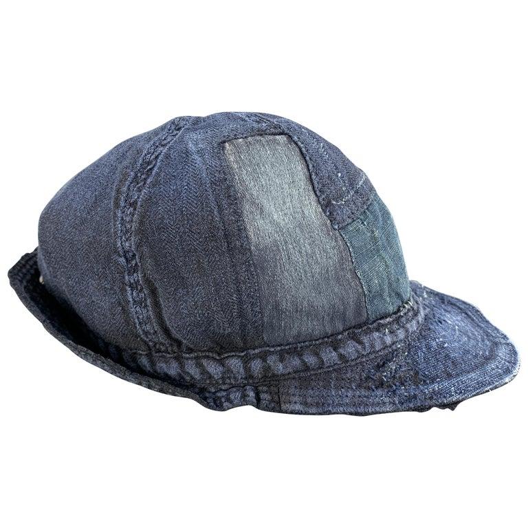 KAPITAL Patchwork Indigo Blue Patchwork Linen Hat For Sale