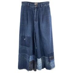 KAPITAL Size 26 Indigo Patchwork Cotton Wide Leg Casual Pants