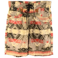 KAPITAL Size 30 Khaki Print Nylon Lined Back Belt Swim Trunks