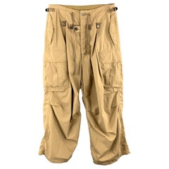 KAPITAL Size 30 Khaki Solid Cotton / Nylon Wide Leg Casual Pants