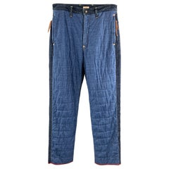 KAPITAL Size 32 x 29 Indigo Quilted Cotton Zip Fly Casual Pants