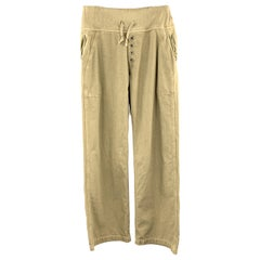 KAPITAL Size 32 x 33 Olive Solid Cotton Elastic Waistband Casual Pants
