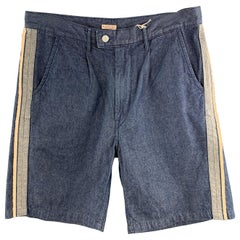 KAPITAL Size 34 Indigo Solid Cotton Pleated Shorts
