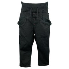 KAPITAL Size M Black Cotton Cropped Button Fly Joggers