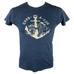KAPITAL Size M Indigo Graphic Cotton Crew-Neck T-shirt