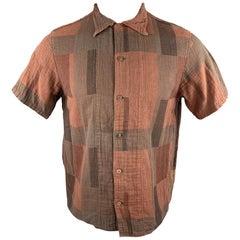KAPITAL Size S Brick Geometric Plaid Cotton Button Up Short Sleeve Shirt