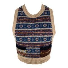 KAPITAL Size S Multi-Color Fairisle Wool Crew-Neck Sweater Vest