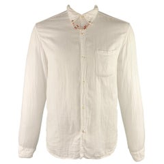 KAPITAL Size XL White Solid Cotton Button Up Long Sleeve Shirt