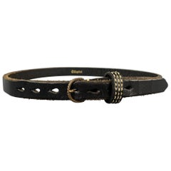 KAPITAL Waist Size 34 Black Contrast Stitch Leather Belt