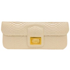 Kara Ross Collectible Ivory Python Clutch With Rock Crystal Embellishment