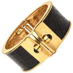 Kara Ross Stamped Leather and Gold Plated Hinged Cuff Bracelet