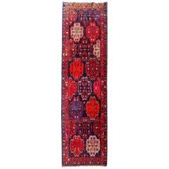 Karabagh Caucasian Rug Semi Antique Pink Blue Orange Hallway Runner