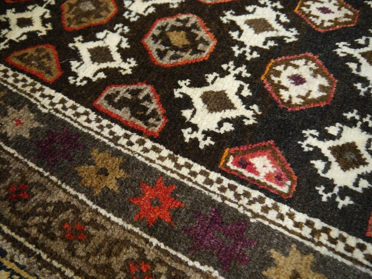 Karabagh Rug Hand Knotted in Azerbeijan, Midcentury For Sale 9