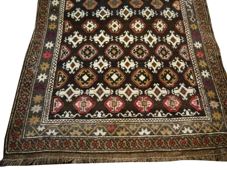 Tribal Karabagh Rug Hand Knotted in Azerbeijan, Midcentury For Sale