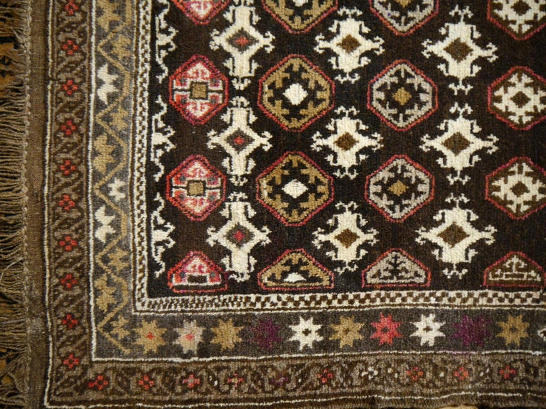 Wool Karabagh Rug Hand Knotted in Azerbeijan, Midcentury For Sale