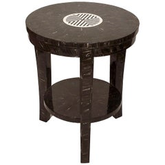 Karakum Horn Marquetry End Table with Bone Inlay