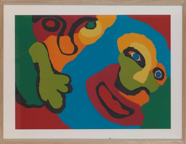 Lively screen print from 1974 by Artist Karel Appel (1921-2006): expressive and bold composition and colors. Pencil signed: 'Appel' and '74'. Dimensions are 75 x 55 cm.