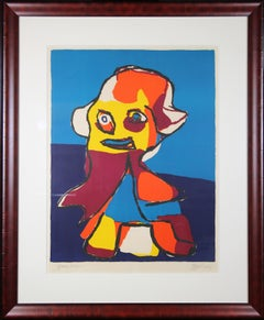 Abstract Figure, Multi Colored Lithograph, 1964, Signed and Titled
