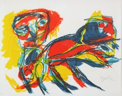 Color Abstract of Man and Animal, Color Lithograph, 1962, Signed and Numbered