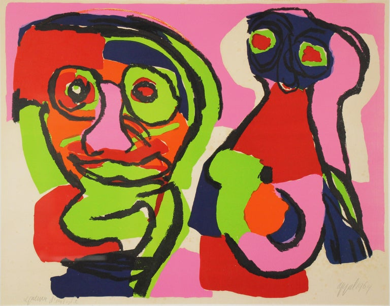 Color Abstract of Two Figures, Color Lithograph, 1964, Signed and titled - Print by Karel Appel