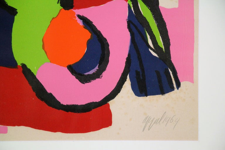 Color Abstract of Two Figures, Color Lithograph, 1964, Signed and titled - Abstract Expressionist Print by Karel Appel